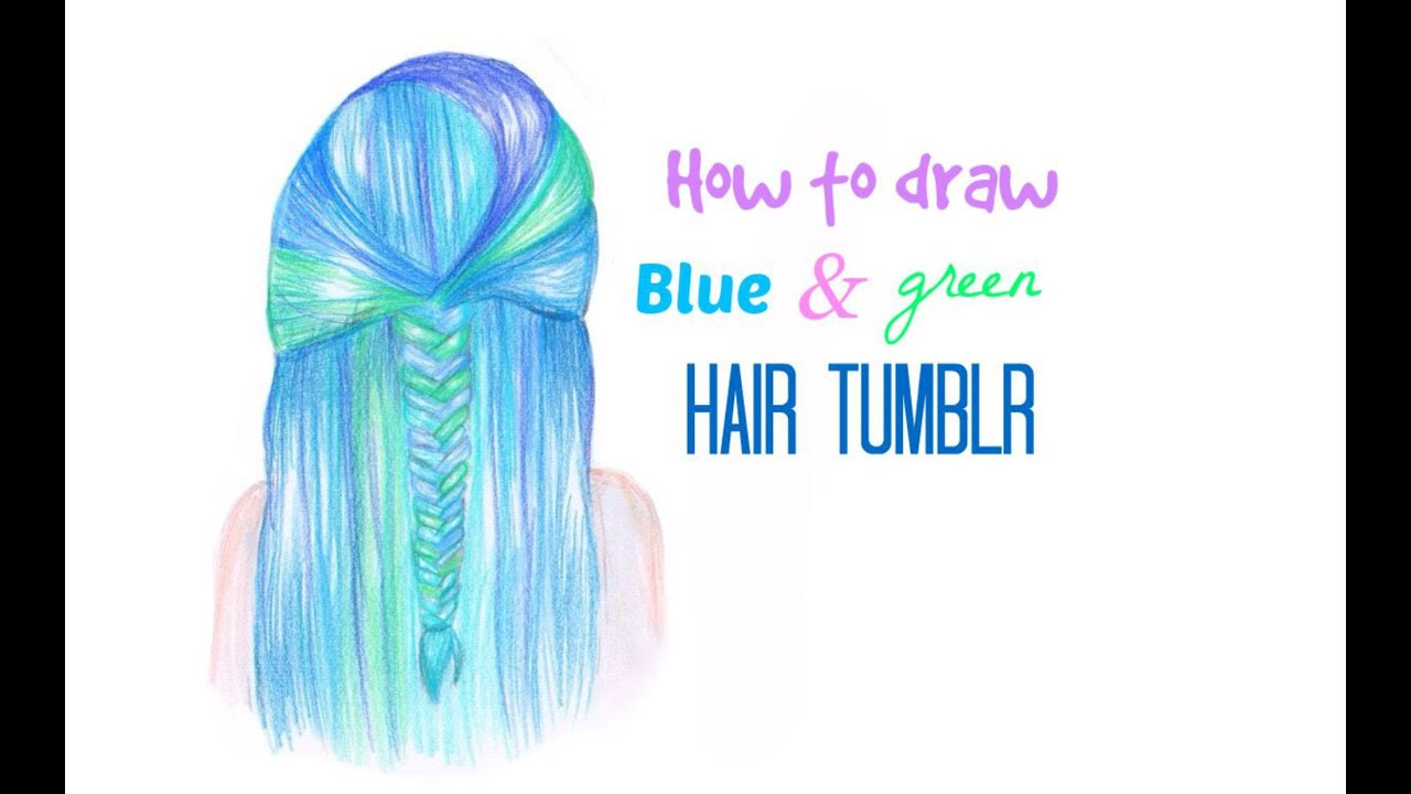draw blue and green hair