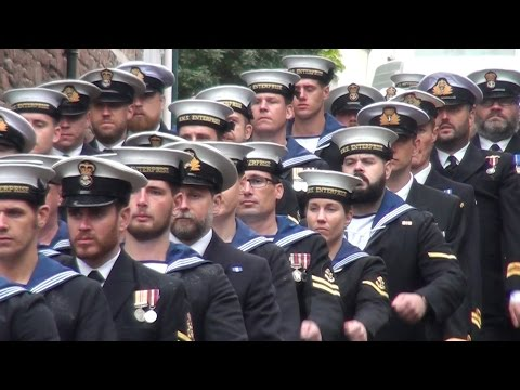 Royal Navy's HMS Enterprise excercise freedom of Tiverton
