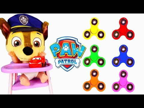 Fidget Spinners Learning Colors With Paw Patrol Chase Skye School with Gumballs, Finger Family Song