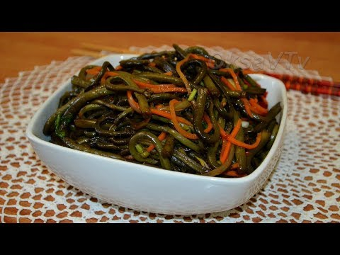 Салат из папоротника(蕨沙拉, Jué shālā). Китайская кухня. Fern salad. Chinese food.