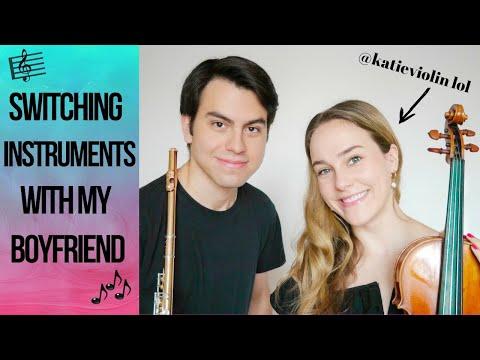 My boyfriend & I switched instruments (OMG VIOLIN IS HARD)   #flutelyfe with @katieflute