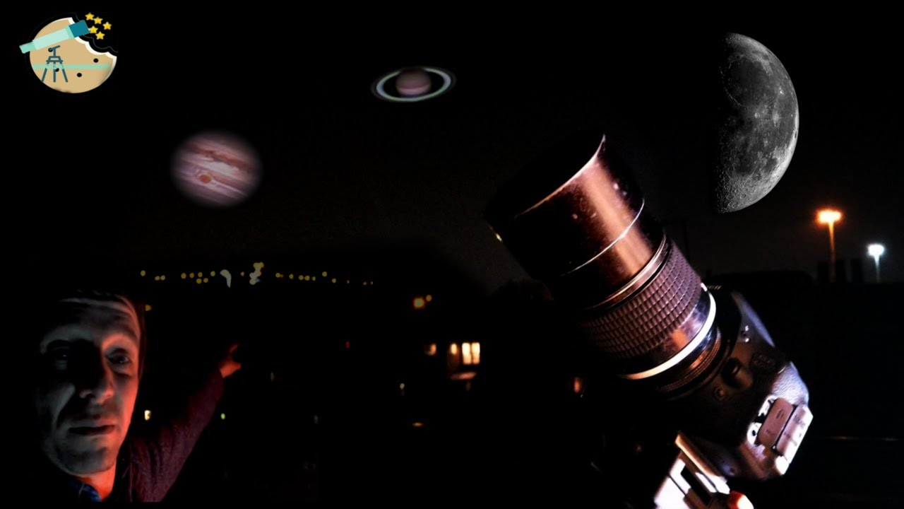 Video the planets with a camera lens: Quick video of Venus Jupiter Saturn and the Moon