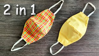 Easy 2 in 1 Face Mask Face Mask Sewing Tutorial Make Fabric Face Mask At Home