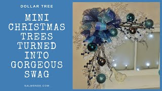 DIY Dollar Tree White Mini Christmas Tree Swag and Antique Window Shelf
