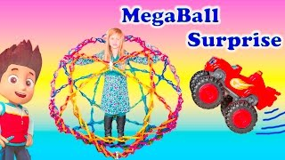 Playing in the Megaball Paw Patrol and Blaze Magical Surprise Ball