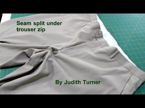 Seam split under trouser zip