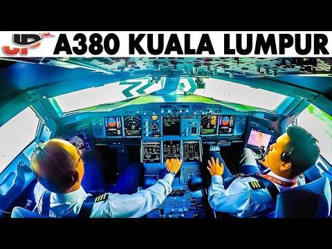 Piloting AIRBUS A380 from Kuala Lumpur   Cockpit Views