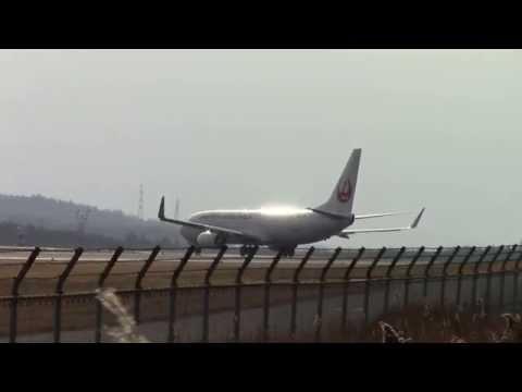JAL   JA328J  離陸   岡山空港  OKayama Airport 2015年1月