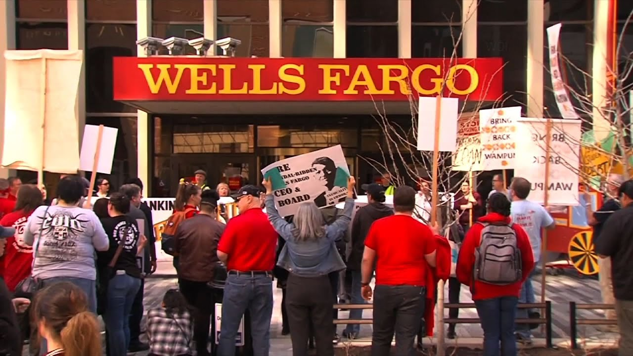 Wells Fargo's consumers rightfully protesting the company's scandal and break of trust outside their office