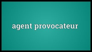 Agent provocateur Meaning