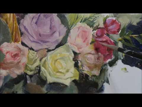 pomegranates & flowers. oil painting. part 4