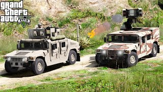 GTA 5 Military Patrol | Fort Zancudo Base Attacked By Helicopters | Humvee With Anti Air Missiles