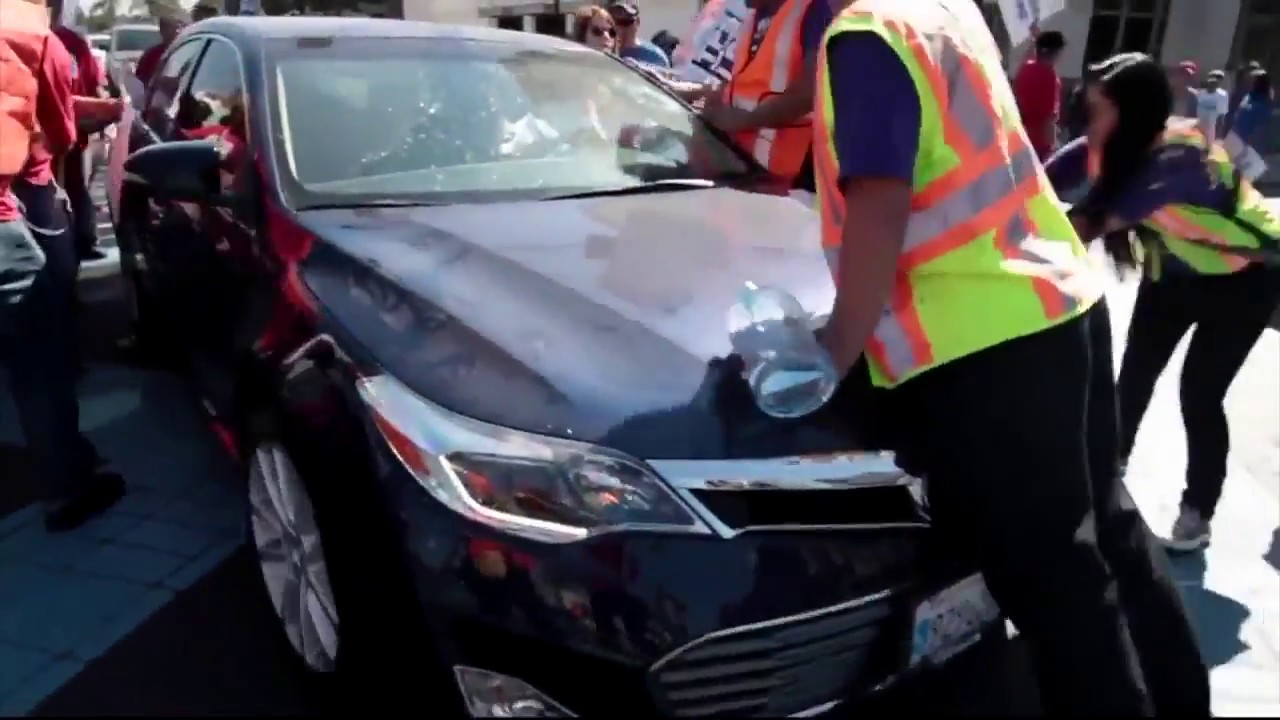 Car Drives Through Protesters In Los Angeles