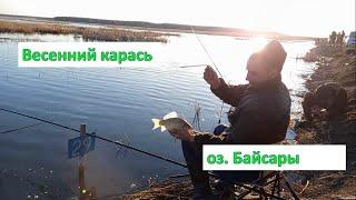 Наловили полный таз карася Весна озеро Байсары