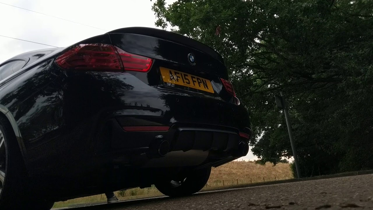 BMW 435I N55 EWG decat down pipe with stock exhaust sound running stage 2+  MHD