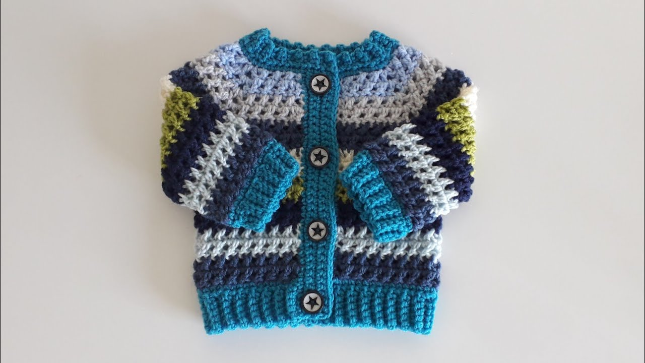 "Crochet #20 How to crochet a baby cardigan ""Kriss Cross"""
