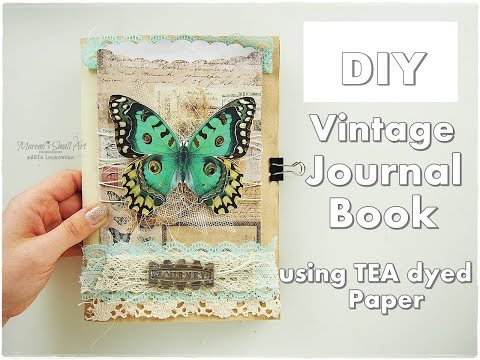 DIY Vintage Journal Book No Cost using Tea Dyed Papers ♡ Maremi's Small Art ♡