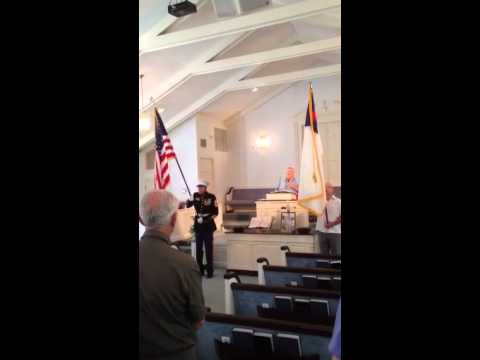 83 Year old Marine carrying the flag in church in honor of Memorial Day