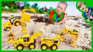 Construction Trucks | Digging Sand at the Beach