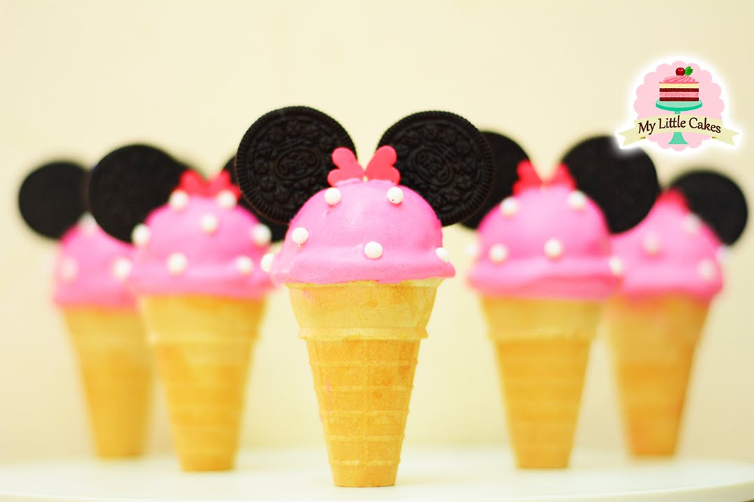 Minnie Mouse Ice Cream Cake Pops My Little Cakes Youtube