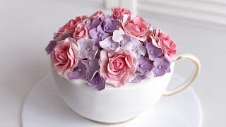 Торт Чашка с цветами часть 2 сборка и декор