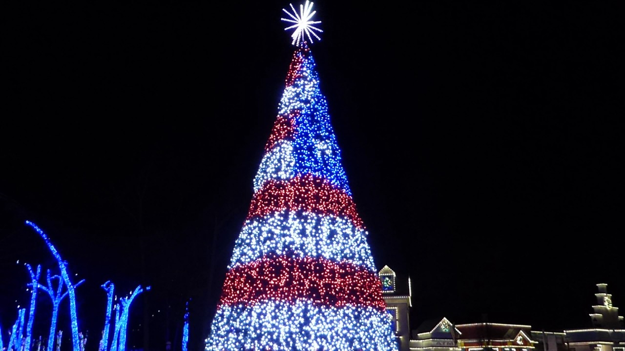 Six Flags Great Adventure Holiday in the Park tree program - YouTube