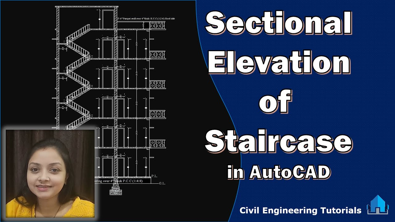 How to draw Sectional Elevation Of Staircase in AutoCAD || Building #2