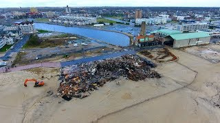 Drone captures the fire-destroyed remains of the North End Pavilion in Ocean Grove