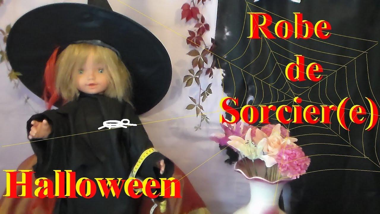 Fabriquer une robe de sorcier ou sorci re pour halloween bricolage avec les enfants youtube for Comfabriquer deguisement halloween enfant