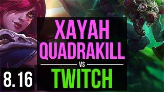 XAYAH vs TWITCH (ADC) ~ Quadrakill, KDA 17/2/4, Legendary ~ Korea Master ~ Patch 8.16