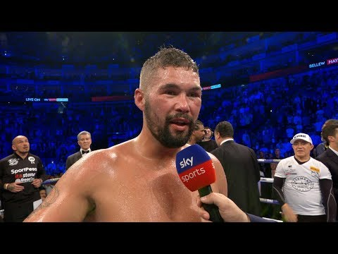 POST FIGHT: Tony Bellew and David Haye both spoke in the ring after it was repeat for The Bomber.