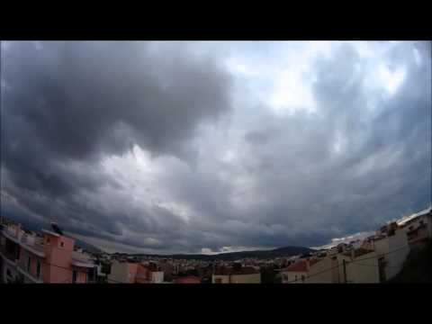 Time lapse rain cloudy sky Athens greece