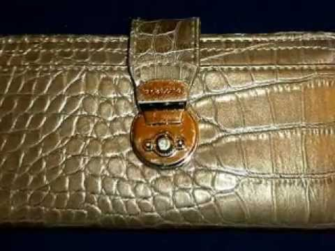 LIZ CLAIBORNE WALLET TAUPE ALLIGATOR PATTERN