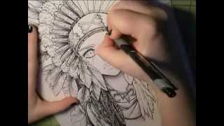 Speed Draw - Ball Point Pen Shading - Feathers and Tears