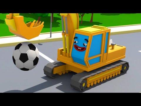 Gelber Bagger spielt der Fußball in der Stadt - Cars Town - Zeichentrickfilm für Kinder