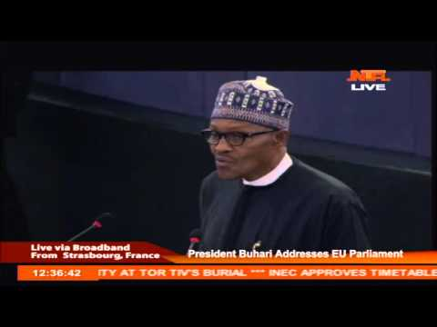 Video: Watch How President Buhari Addresses The European Parliament