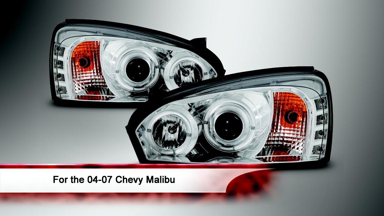 04 07 Chevy Malibu Led Halo Projector Headlights