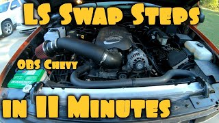 LS Swap Steps for OBS Chevy in 11 minutes! *v6 to v8 w/ nv3500*