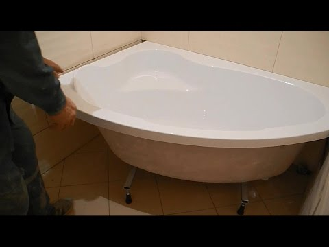 Монтаж угловой,акриловой ванны ч.2