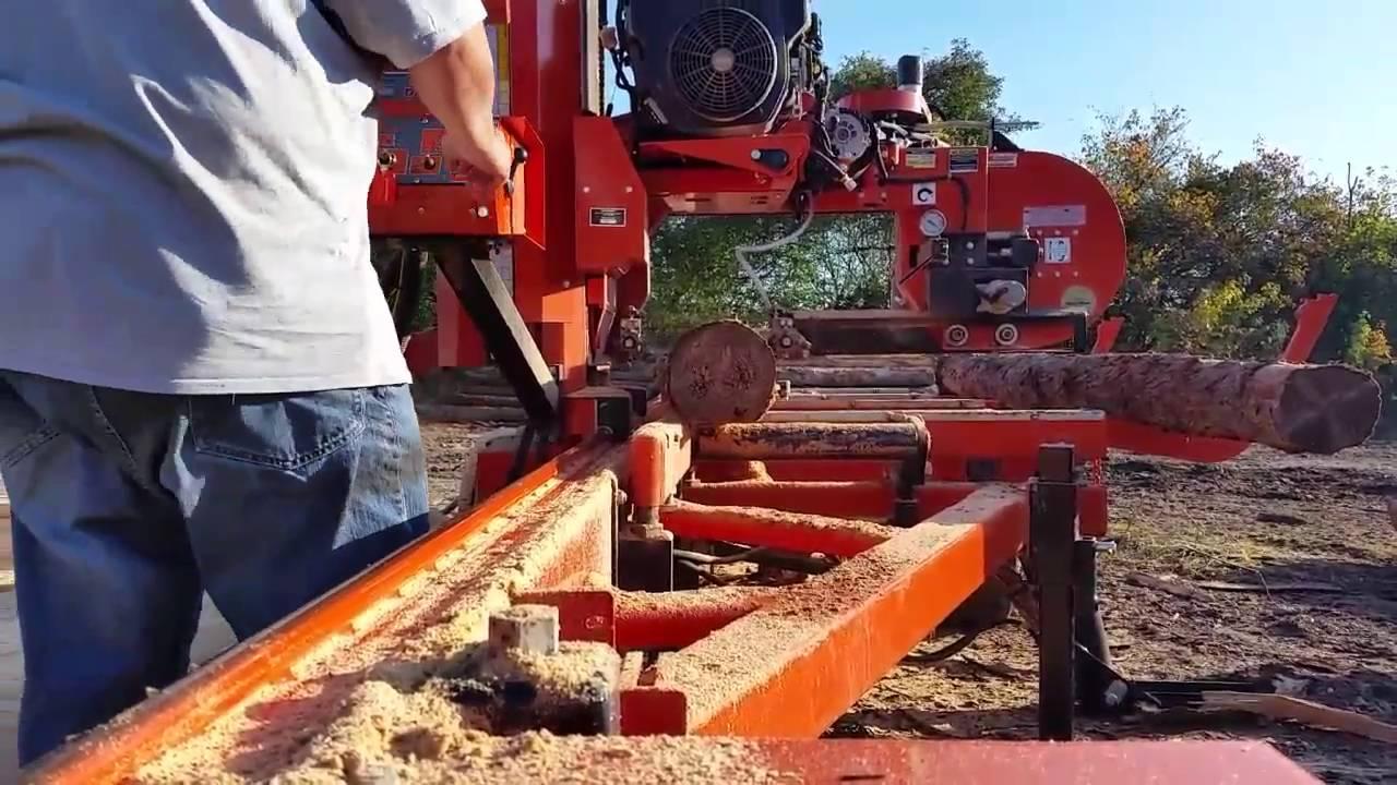 Wood-Mizer LT40 hydraulic portable sawmill cutting Larch
