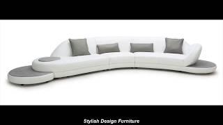 Stylish Design Furniture - Jesse White & Grey Leather Sectional Sofa