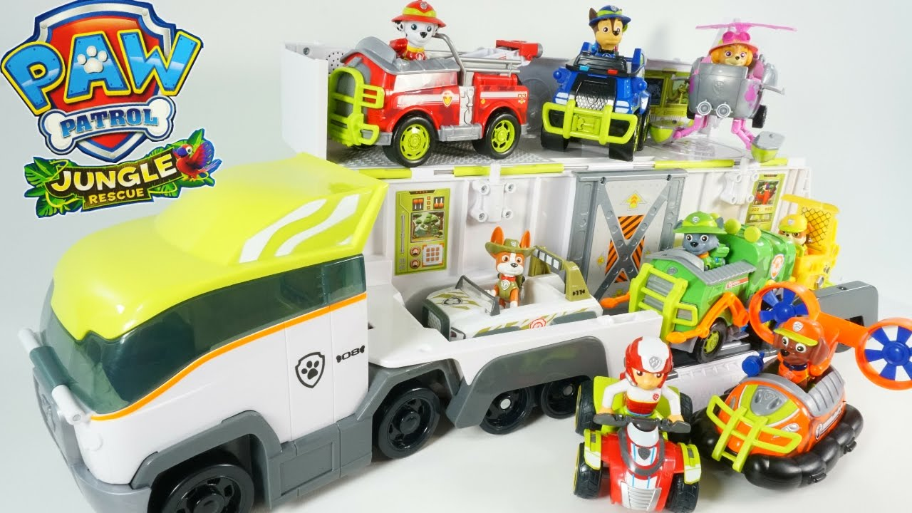 New Paw Patrol Jungle Rescue Paw Patroller Vehicles New Pup Tracker Toys Semi Hauler Truck Youtube