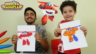 Harika Kanatlar ile 3 Marker Challenge Yaptık | Learn Colors with Super Wings