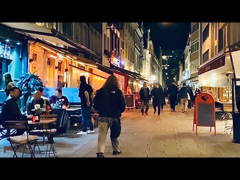 [4K] Busy Friday Night Walk in Düsseldorf Germany Autumn 2020 - Masks Life