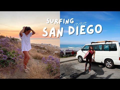 surfing in sunny San Diego  🌊