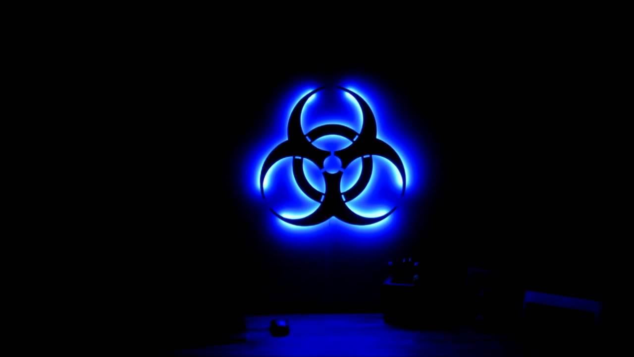 Glowing Led Biohazard Light Silhouette Youtube