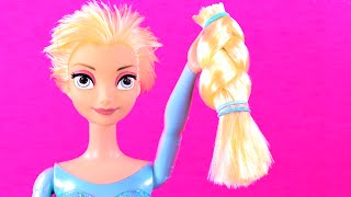 Frozen Elsa Cuts Her Hair! Features Frozen Anna, Ariel, Maleficent, Descendants Mal \u0026 Evie