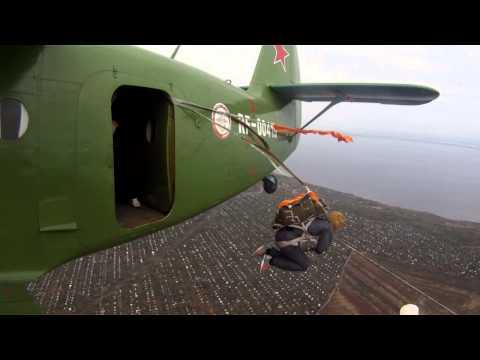 Парашютные прыжки в Ульяновске. Видео с крыла Ан-2