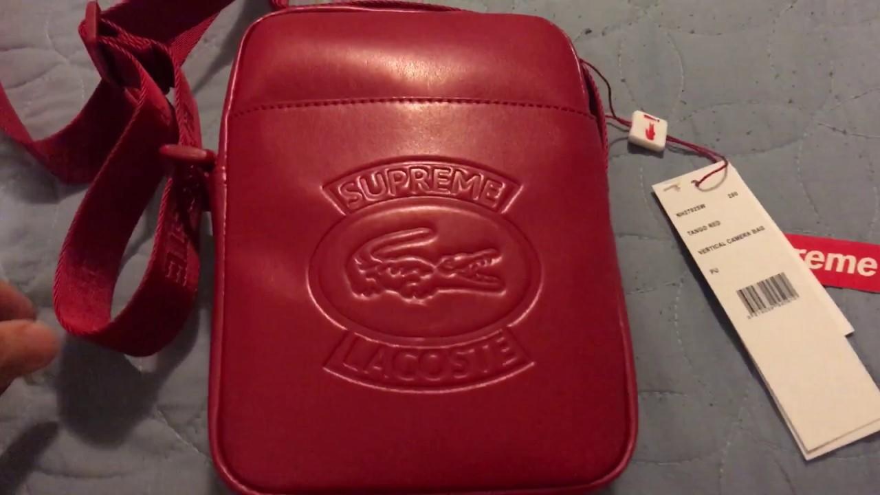 263999f22da Supreme/ Lacoste Shoulder Bag Red - YouTube