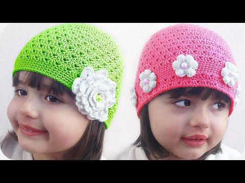 Вязаные детские шапочки крючком видео